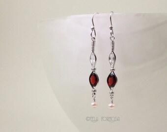 Wire Wrapped Jewelry Natural Gemstone Garnet Earrings Zircon Pearl Gemstone Earrings Handmade Silver Wire Wrapped Earrings Long Red Earrings