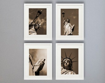 New York Photography, sepia photography, set of 4 8x10 or 8x12, Statue of liberty, NYC art City, NYC wall decor, New York poster skyline