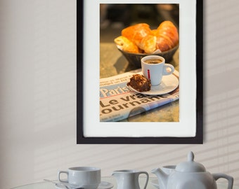 Kitchen art, Paris photography, croissant, petit dejeuner, yellow home decor, food photography, wall decor, home decor,