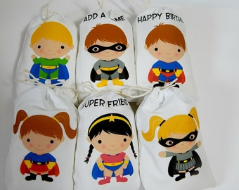 """Birthday Party Favor Bags Boys/Girls Super Hero For Treat or gift, Personalized 5"""" X 7"""" or 6"""" X 8"""" Qty 6"""