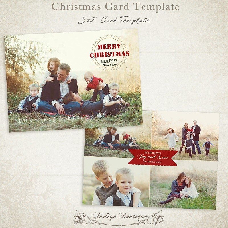 Christmas Card Template 7x5 Photo Card Template For