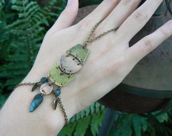 steampunk slave bracelet ,hand chain, mixed metals ,boho, hippie,gypsy,festival, geometric  steampunk, tribal fusion