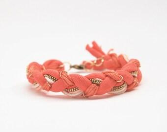 Coral bohemian braided bracelet with chain, orange friendship bracelet, jersey bracelet