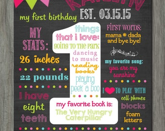 First Birthday Chalkboard Poster, First Birthday Milestone Chalkboard, Printable Chalkboard Poster