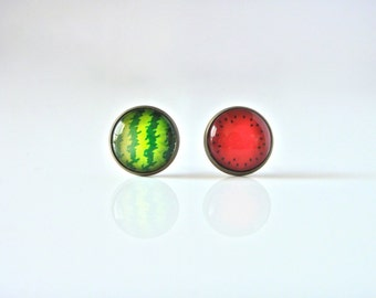 SUPER SALE!! 18mm Watermelon Stud Earrings, Watermelon Studs, Watermelon Earrings, Fruit Studs, Fruit Stud Earrings, Fruit Jewelry