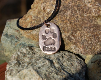 Keepsake Hand-cast Bronze Paw Print Pendant, From YOUR Pet's Real Paw Print