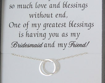Bridesmaid necklaces, Bridal party gifts, BRIDESMAID thank you cards, Sterling Silver, Bridesmaid POEM, Maid of Honor, Connecting circles