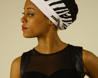 ZEBRA Tam for dreadlocks - Black and White Rasta hat for Women - Elastic Headband - Satin lining - MADE to ORDER
