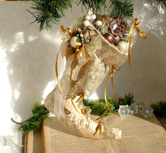 Victorian Christmas Decorations: Gold Christmas Stocking Victorian Holiday Decor Victorian