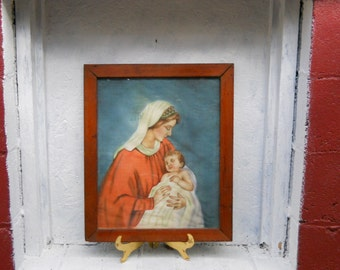 Madonna and Child.  Virgin Mary with Infant Jesus. VINTAGE Painting on Cloth