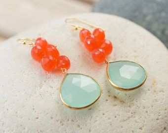 Mothers Day - Gifts for Mom - Aqua Blue Chalcedony Earrings - Trendy Earrings - Gemstone Earrings - Dangle Earrings - Blue earrings