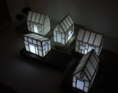Miniature paper house light with gold tree - birch wood base in honey color  - geometric architecture - metallic tree - glowing house