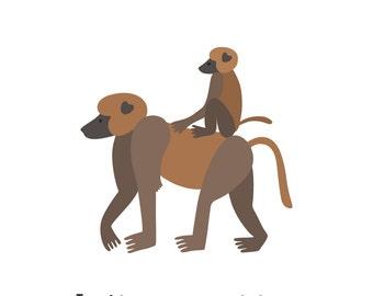Baboons (4x4 Card)