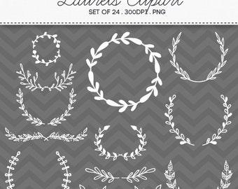Doodle Wreath Laurel Hand Drawn Clipart / INSTANT DOWNLOAD / Digital Wreaths Frames Set of 24 / 165