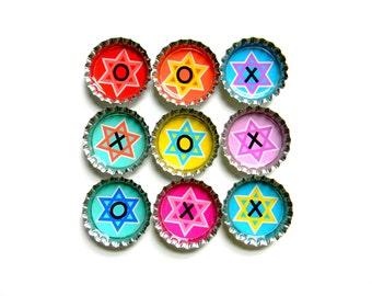 Tic Tac Toe - Bottle Cap Magnets - Hanukkah Star of David - Set of 10