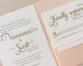 The Tulip Suite - Classic Letterpress Wedding Invitation Sample Gold, Blush Shimmer pocket enclosure, Pink, Timeless, Traditional, Modern