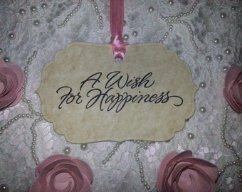 100 Wish Tree Tags A Wish For Happiness  Adorned With A Ivory Satin Ribbon