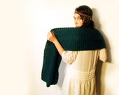 Large Chunky Knitted Scarf, Oversized Dark Teal Shawl
