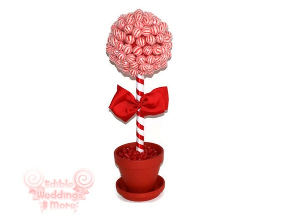 Red lollipop topiary candy by edibleweddings