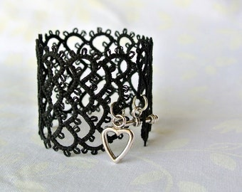 Black lace cuff | tatted lace bracelet made in Italy | statement jewelry | fiber filigree jewelry | heart T bar clasp