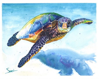 TURTLE WATERCOLOR - sea life art, sea turtle print, marine life art, turtle lover, turtle gift, sea life decor, turtle wall decor