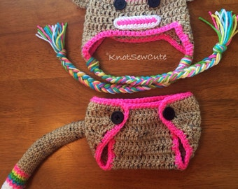 Rainbow Sock Monkey Hat and Diaper Cover - Photo Prop