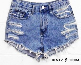 High Waisted Denim Jean Shorts - Plus Size through Juniors Fit - Blue Denim - Moderate Shred