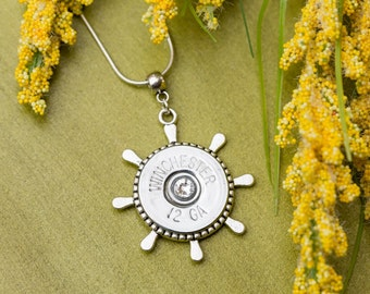 Shotgun Bullet Casing Jewelry - Nautical Boat Wheel Bullet Necklace (12 Gauge)