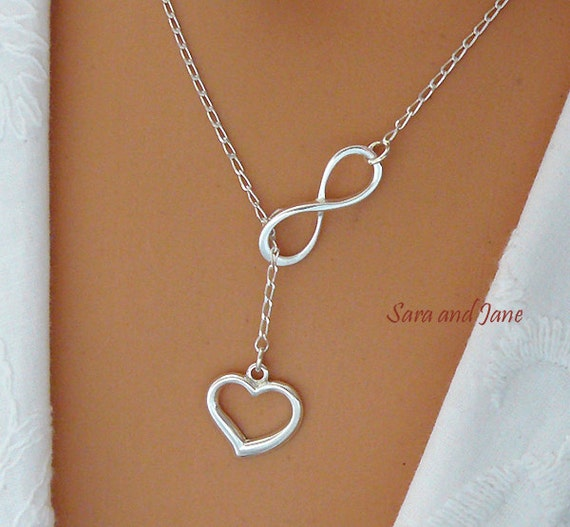 heart and infinity necklace sterling silver by saraandjane. Black Bedroom Furniture Sets. Home Design Ideas