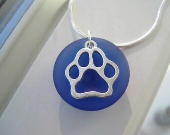 Paw Print Jewelry - Paw Print Necklace - Dog Paw Jewelry - Dog Necklace - Blue Glass - Pet Jewelry