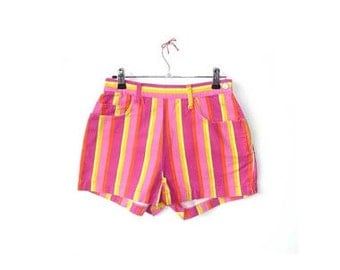 Neon Festival Shorts -  Rhubarb and Custard Stripes - High Waist