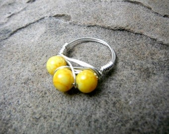 Bright Yellow Ring, Wire Wrapped Ring, Cluster Ring, Glass Bead Ring, Wire Wrapped Jewelry Handmade, Chunky Ring