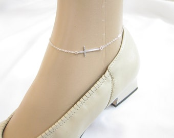 Skinny sideways cross Anklet, Simple Anklet, Best friend, Ankle Bracelet, Delicate anklet.