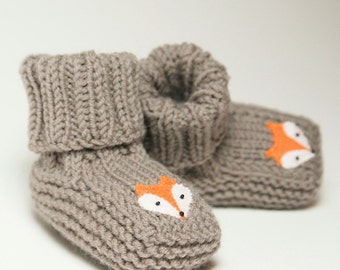 Fox baby booties knitt grey baby slippers MADE TO ORDER