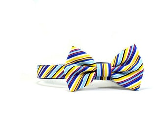 Blue Striped Dog Bow Tie Collar Adjustable Yellow Red Stripes Wedding Dog Bowtie
