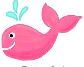 Pink Whale Original Art download, Pink whale clip art