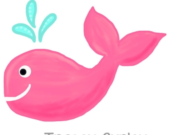 pink whale clipart – Etsy