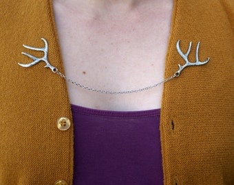Deer Antler Cardigan Clip - Silver, Gold, or Bronze