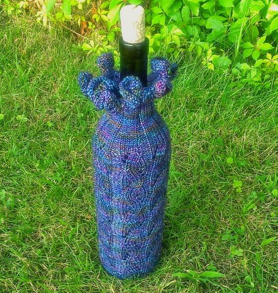 Wine Bottle Cozy Hand Knit Blue Wool Gift Bag