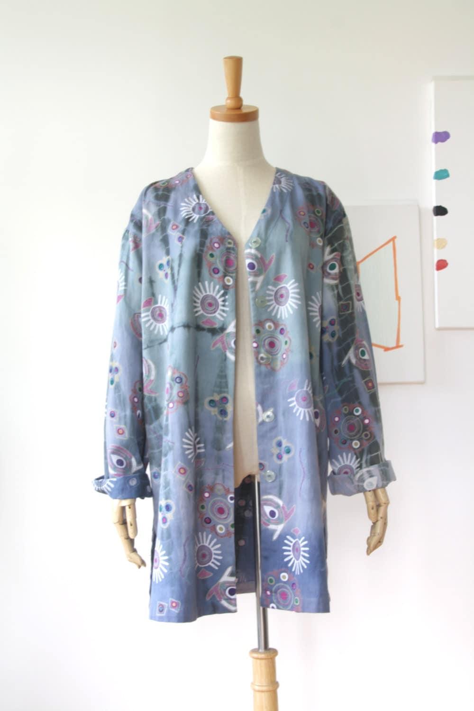 Blue cosmic duster blue tribal print jacket eye tie dye for Cosmic pattern clothing