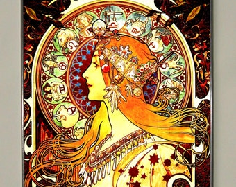Alphonse Mucha - Zodiac, Stained Glass