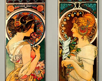 SALE! - 2x Alphonse Mucha - Primrose and Feather (Price for both),  At Nouveau, Stained glass