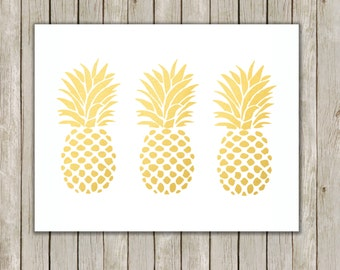 8x10 Pineapple Set Print, Metallic Gold Wall Art, Gold Printable, Fruit Poster, Home Decor, Kitchen Art, Gold Art, Instant Digital Download
