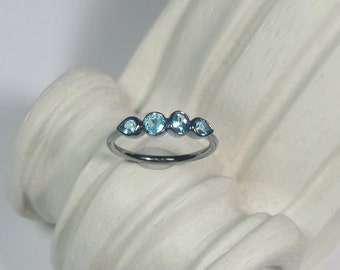 Sky Blue Topaz Gemstone Ring, 4 Stone Band, Oxidized Sterling Silver, Ready to Ship, Size 6.25