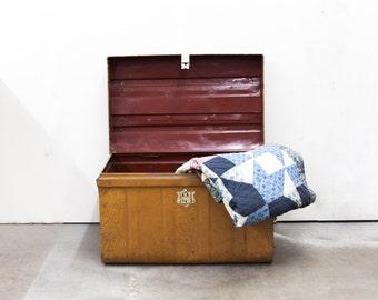 Large Tin Travel Trunk Faux Painted to Mimic Quarter Sawn Oak