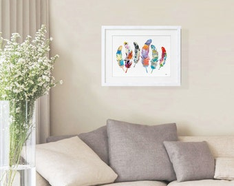 Feather Art Watercolor Painting - 11x14 Archival Print - 6 Feathers Print - Colorful Art Print - Feather Silhouette, Wall Decor