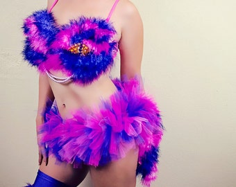 Cheshire Cat Costume / Rave Bra, Tutu, and Headband. (Fluffies NOT included)