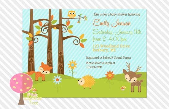 woodland baby shower invitation, boy or girl, gender neutral,