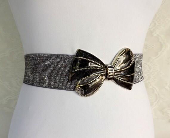 silver glitter elastic waist belt wide belt silver bow belt