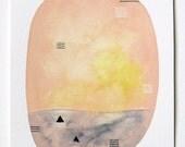 Magic Sea 2 - Original Contemporary Abstract Watercolour Painting - Pink Painting, Yellow, Grey - by Natasha Newton